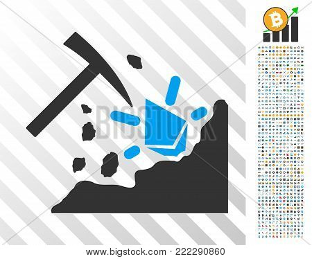 Ethereum Mining Hammer icon with 7 hundred bonus bitcoin mining and blockchain pictographs. Vector illustration style is flat iconic symbols designed for bitcoin software.