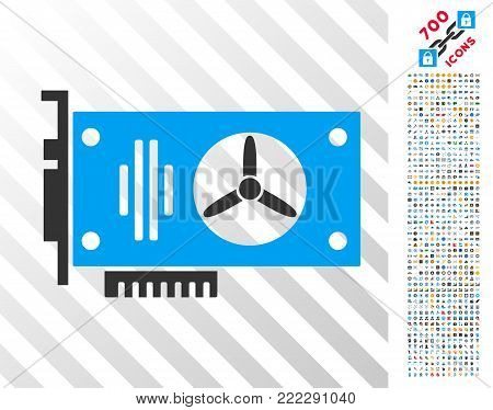 Videocard icon with 700 bonus bitcoin mining and blockchain pictures. Vector illustration style is flat iconic symbols designed for cryptocurrency apps.