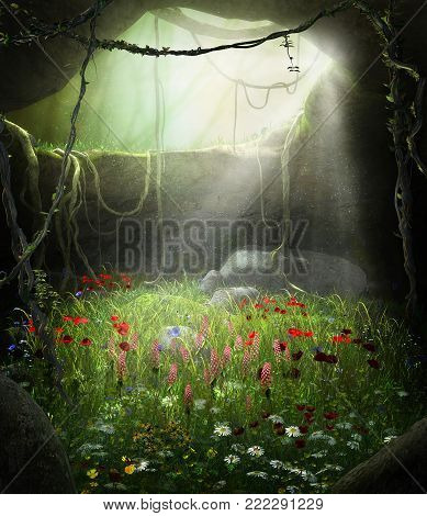 3D render illustration of an enchanting fairy tale cave filled with flowers in a magical forest