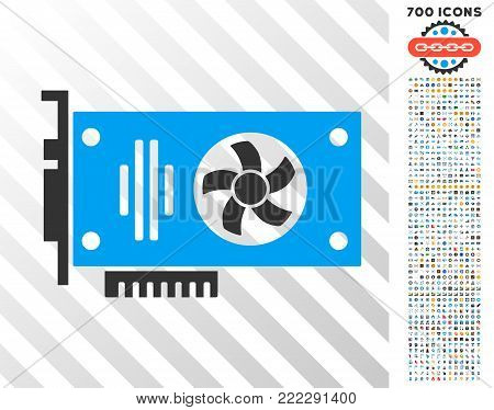 Videocard pictograph with 7 hundred bonus bitcoin mining and blockchain pictograms. Vector illustration style is flat iconic symbols designed for bitcoin software.