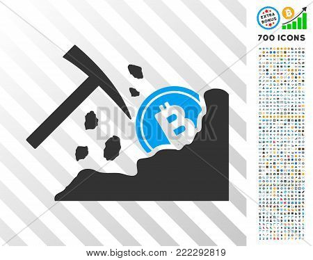 Bitcoin Mining Hammer pictograph with 700 bonus bitcoin mining and blockchain icons. Vector illustration style is flat iconic symbols designed for crypto-currency software.