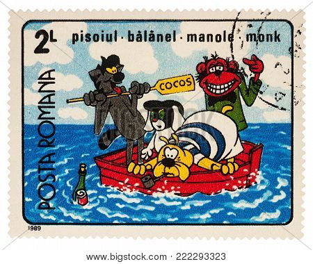 Moscow, Russia - Januarry 16, 2018: A stamp printed in Romania, shows frame from Cartoon film