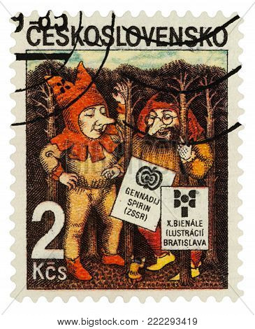Moscow, Russia - January 16, 2018: A stamp printed in Czechoslovakia shows Elves by Gennady Spirin, series