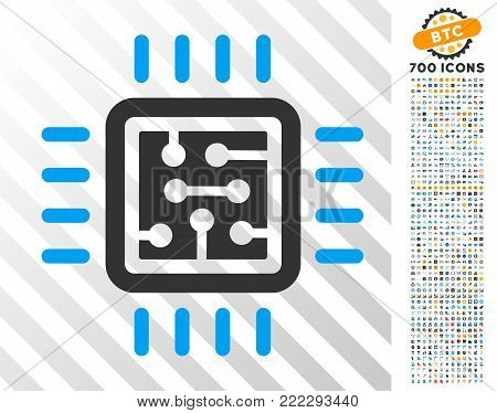 Cpu Circuit icon with 7 hundred bonus bitcoin mining and blockchain pictographs. Vector illustration style is flat iconic symbols designed for crypto-currency software.