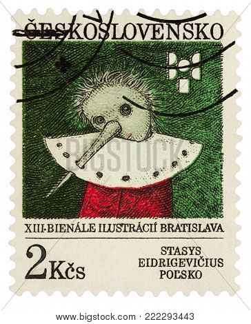 Moscow, Russia - January 16, 2018: A stamp printed in Czechoslovakia, shows Pinocchio by Stasys Eidrigevicius, Poland, series