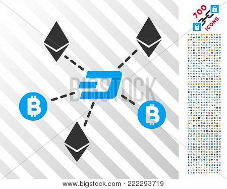 Cryptocurrency Relations icon with 7 hundred bonus bitcoin mining and blockchain pictograms. Vector illustration style is flat iconic symbols designed for cryptocurrency software.