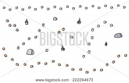 Vector winter set of lama trail, plant, stone. Hand drawn cartoon illustrations. Hoof footprint.