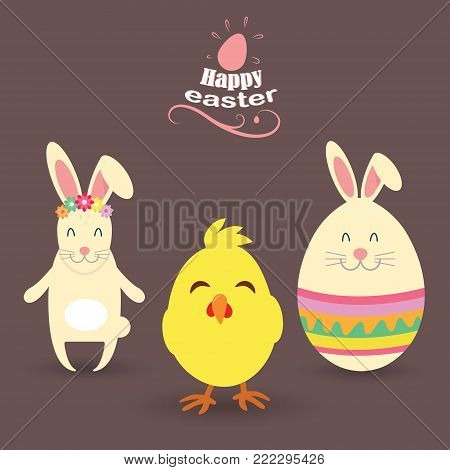 Very happy Easter. Easter Bunny, Egg with ears, Chicken, Vector illustration