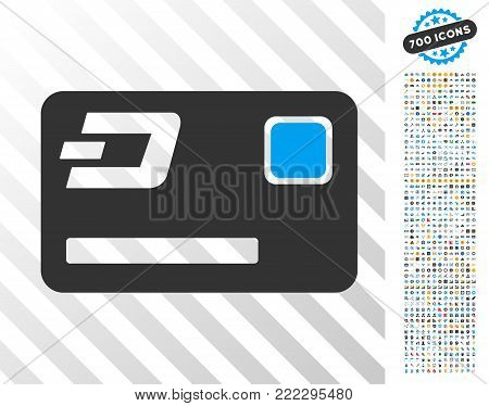 Dash Credit Card icon with 700 bonus bitcoin mining and blockchain images. Vector illustration style is flat iconic symbols designed for crypto currency software.