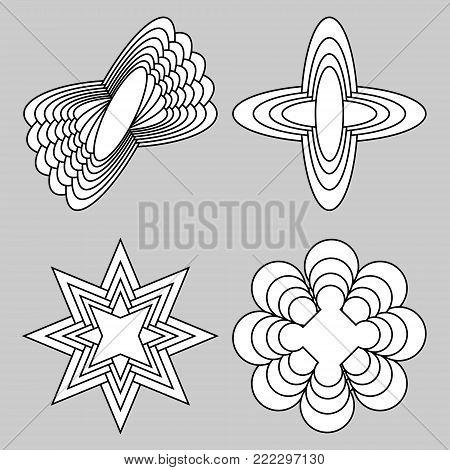 Set of monochrome logotype with spatial effect, 3d simple geometric shapes, set of four unique elements, Vector EPS 10
