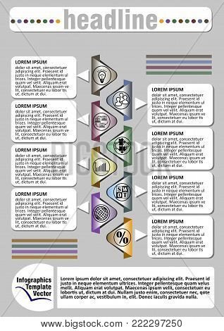 Infographic visualization template, abstract vector with icons and copy space, headline, gray background with colorful objects, vector EPS10