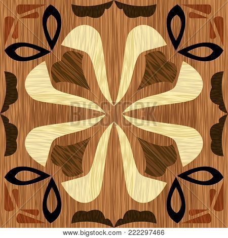 Wood art inlay tile, geometric ornament from dark and light wood in antiquarian style, vector EPS10