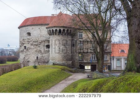 TALLINN, ESTONIA - December 29, 2013: View of the Fat Margaret tower, one of the more prominent monuments of Tallinn's art of fortification. Tallinn is the capital and largest city of Estonia.