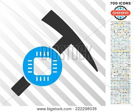 Electronic Mining Hammer pictograph with 7 hundred bonus bitcoin mining and blockchain images. Vector illustration style is flat iconic symbols designed for bitcoin apps.