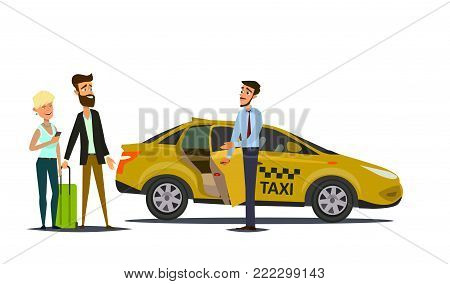 Taxi driver and taxi customers of the service.Vector illustration in flat style.