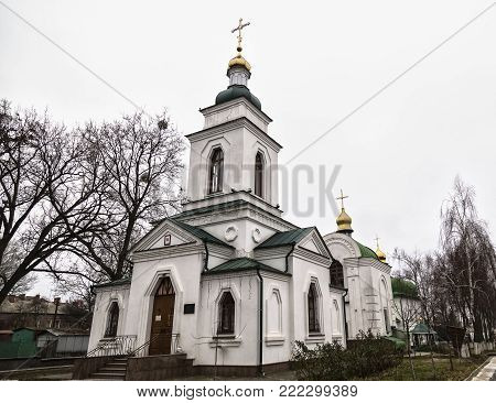 Ancient Spasskaya Church is an active temple Ukrainian Orthodox Church,  monument of architecture of national importance. General view.  Poltava city , Ukraine. Tourist attraction