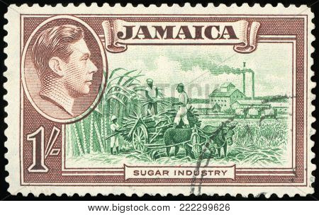 JAMAICA - CIRCA 1981: a stamp printed in Jamaica shows World Food Day, Sugar Industry, circa 1981