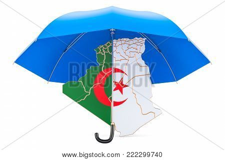 Algiers map under umbrella. Security and protect concept, 3D rendering