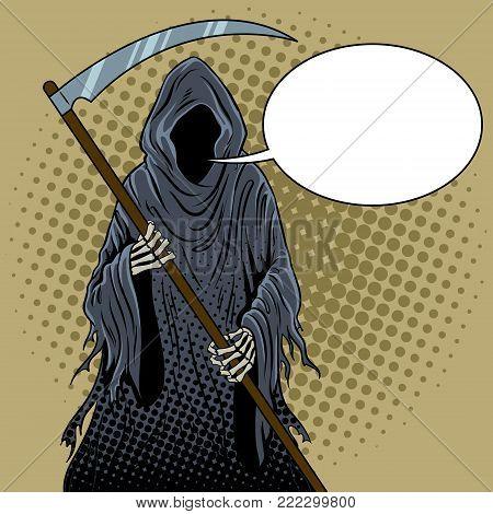Grim reaper pop art retro vector illustration. Text bubble. Death metaphor. Comic book style imitation.