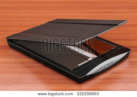 Black flatbed scanner, 3D rendering isolated on the wooden table. 3D rendering
