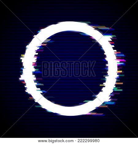 Distorted Glitch Style Modern Background. Glitched Circle Frame Design. Glow Design for Graphic Design - Brochure, Poster, Flyer, Card, Banner. Vector Illustration.