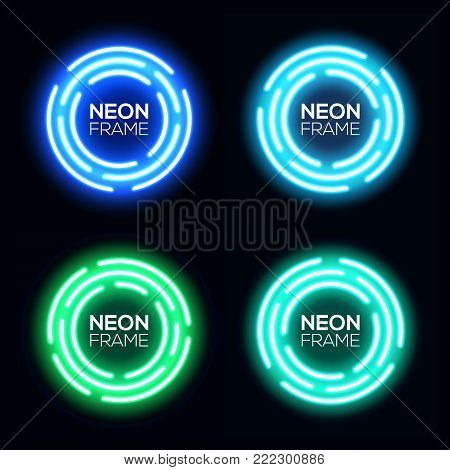 Neon light circles set. Shining round techno frames collection. Night club electric 3d banners on dark backdrop. Blue and green neon abstract background with glow. Technology vector illustration.