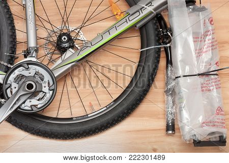 Brnenec, Czech Republic-April 9,2017: Unboxing of Bike Author Traction from paper box. Author is a Czech brand of bicycles, bike accessories and sporting goods