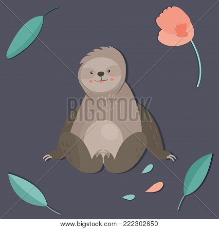 Cute boy sloth. Can be used as a print on t-shirts, bags, stationary or as a poster.