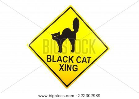 A novelty sign decoration for Halloween against a white background