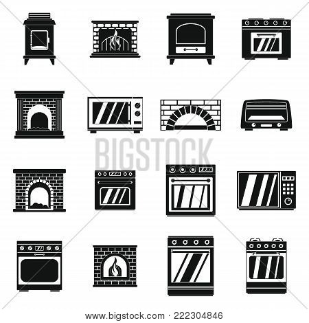 Oven stove furnace fireplace icons set. Simple illustration of 16 oven stove furnace fireplace vector icons for web