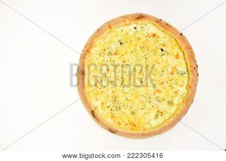 Quattro formaggi with rich seasoning. Italian cuisine and pizzeria concept. Pizza with mozzarella, cheddar, parmesan and cream isolated on white background. Four cheeses pizza with crunchy edges