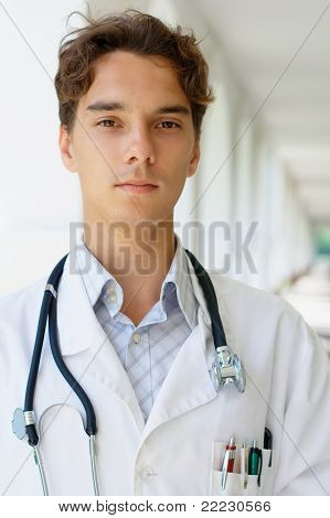 Serious young doctor
