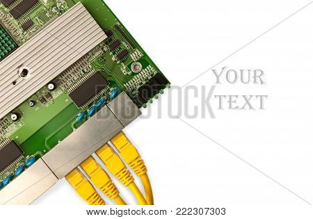 Ethernet switch board with yellow patch cords top view, place for your text