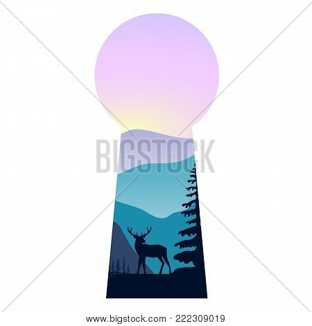 Landscape with mountains, mist and forest at sunset. Double exposure, panoramic view, forest background and deer silhouette through keyhole shape. Vector illustration. trees, mist, beam, sunrise.
