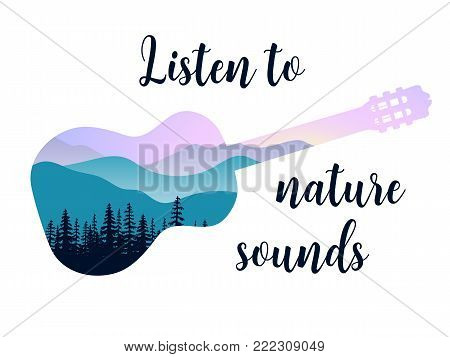 Landscape with mountains, mist and forest at sunrise. Double exposure, panoramic view, forest background. Guitar shape. Vector illustration. trees, mist, beam, sunrise. Listen to nature sounds message