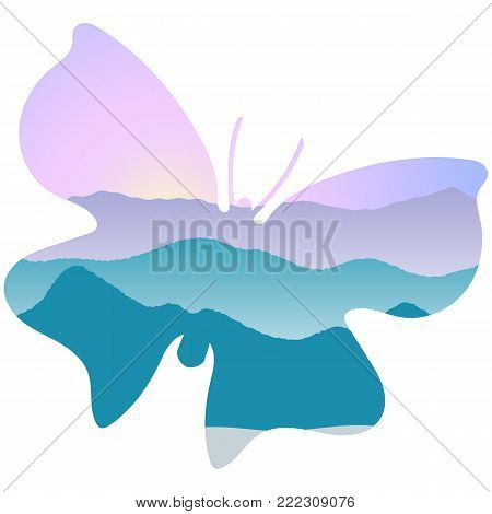 Landscape with mountains, mist and forest at sunrise. Double exposure, panoramic view, butterfly shape, sky background. butterfly shape. Vector illustration. trees, mist, beam, sunrise