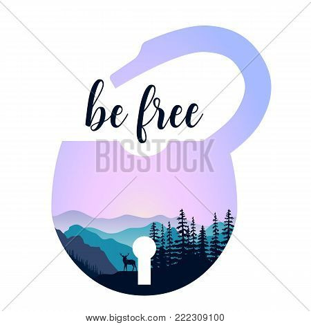 Landscape with mountains, mist and forest at sunrise. Double exposure, panoramic view, forest background. lock shape. Vector illustration. trees, mist, beam, sunrise. Be free message
