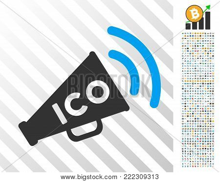 Ico News Megaphone icon with 7 hundred bonus bitcoin mining and blockchain graphic icons. Vector illustration style is flat iconic symbols designed for blockchain websites.