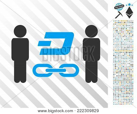 People Dash Blockchain pictograph with 700 bonus bitcoin mining and blockchain graphic icons. Vector illustration style is flat iconic symbols designed for blockchain websites.