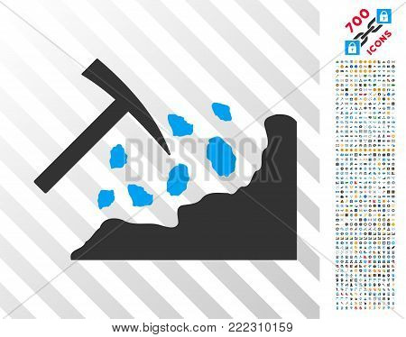 Rock Mining Hammer pictograph with 7 hundred bonus bitcoin mining and blockchain pictograms. Vector illustration style is flat iconic symbols designed for blockchain software.