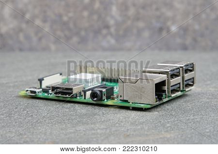 Inside of a small computer with mother board.