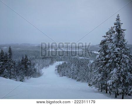 Storklinten, mountain for alpine skiing in the north of sweden