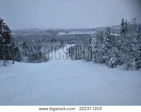 Storklinten, mountain for alpine skiing in Swedish Lapland