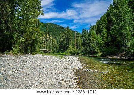 The Clark Fork River in Montana showing off it's beautiful waters on this warm summers day.