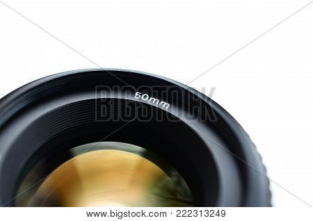 Fragment of a portrait lens for a modern SLR camera. A photograph of a wide-aperture lens with a focal length of 50mm isolated on white