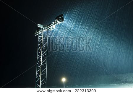 Snow effect in night in the north of sweden