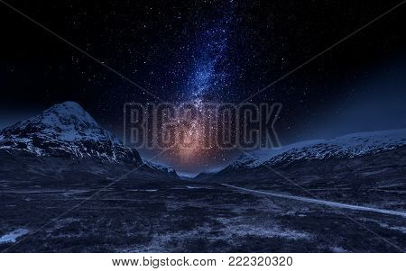 Highlands in Scotland at night with stars