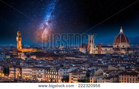Milky way over Florence at night, Italy
