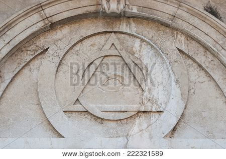 Eye of Providence, a masonic symbol on Magdalene neoclassical facade in Venice, completede in 1790