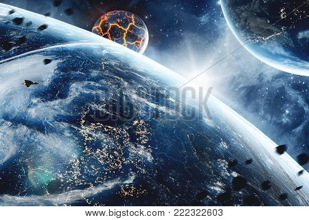 Abstract planet with huge cracks with lava in space. 3D concept for global warming and Apocalypce. Elements of this image furnished by NASA.